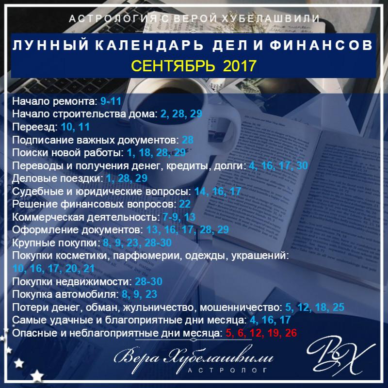 Лунный календарь ДЕЛ и ФИНАНСОВ на СЕНТЯБРЬ 2017