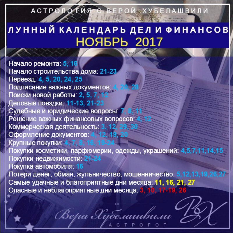 Лунный календарь дел и финансов на ноябрь 2017