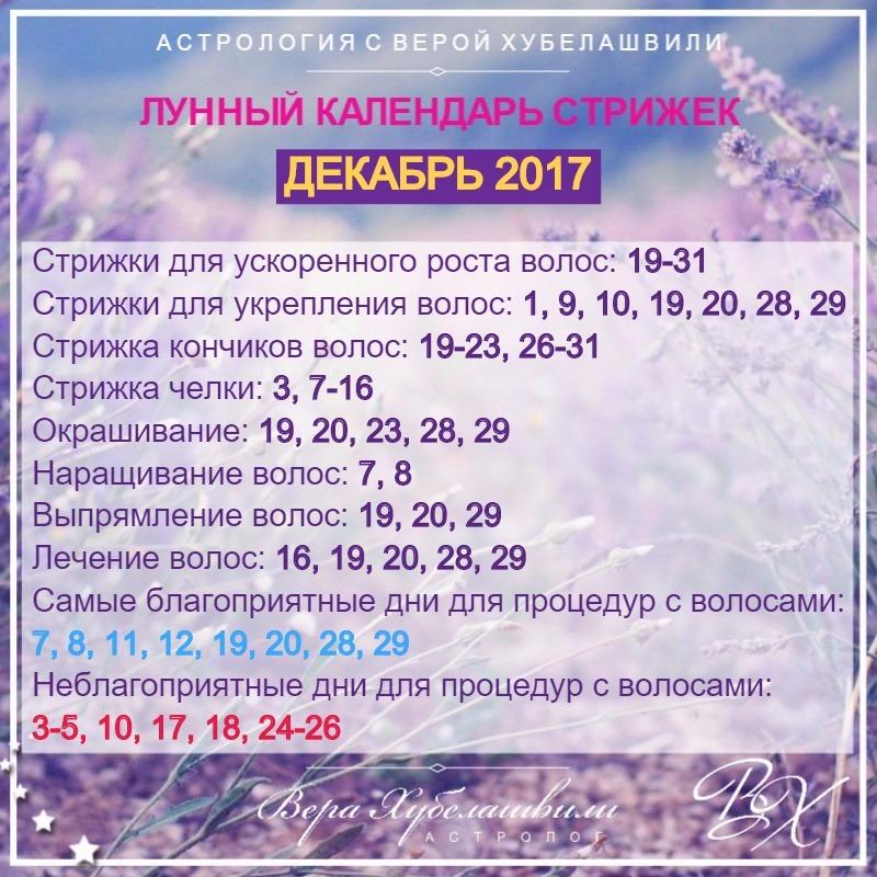 Календарь стрижек и окрашивания ДЕКАБРЬ 2017г. (www.wday.ru)