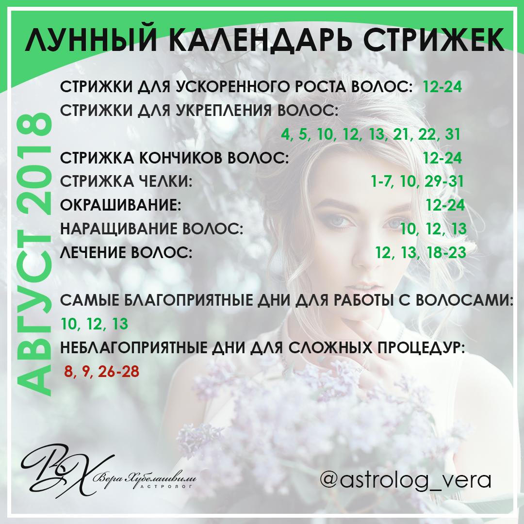 КАЛЕНДАРЬ СТРИЖЕК АВГУСТ 2018 [ПУБЛИКАЦИЯ ДЛЯ WDAY.RU]