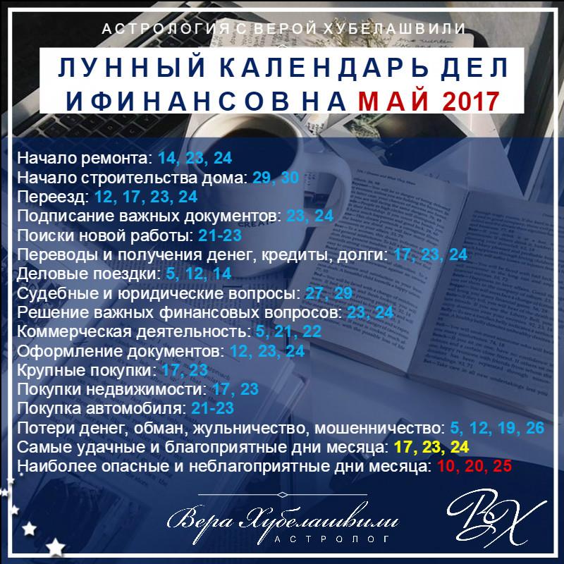 Лунный календарь дел и финансов на МАЙ 2017