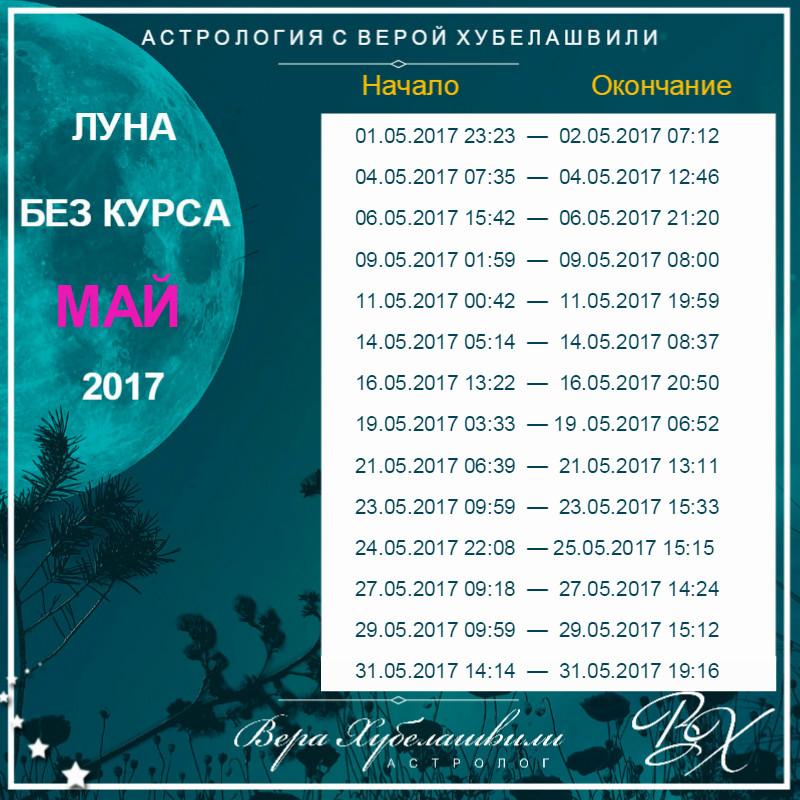 Луна без курса на Май 2017 (время московское)